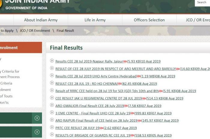 सेना भर्ती लिखित परीक्षा परिणाम 2019-20| Indian Army CEE रिजल्ट by Roll Number Download PDF