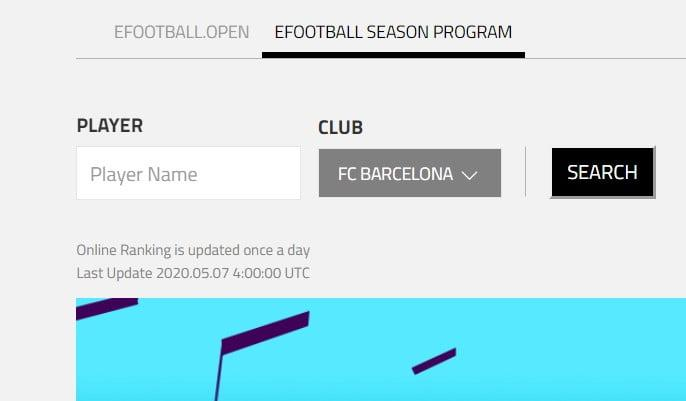 efootball Season Program Ranking, Check by player name or by club