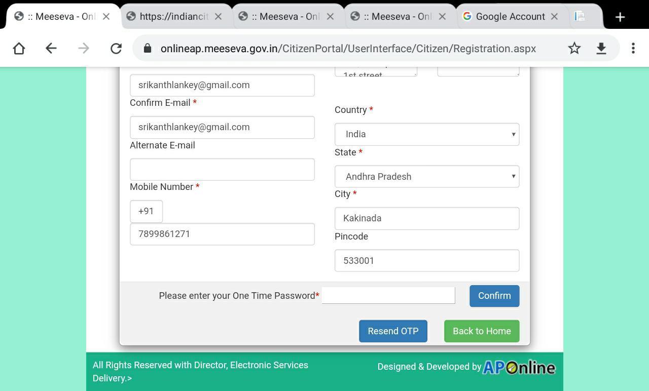 Mee Seva Registration Portal
