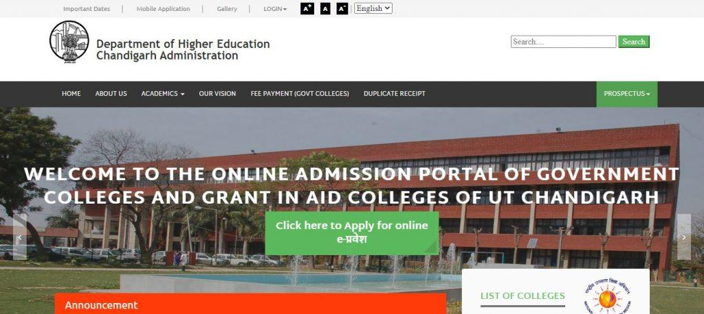 DHE Chandigarh Admissions 2020-21