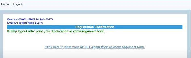 APSET Apply Online 2020