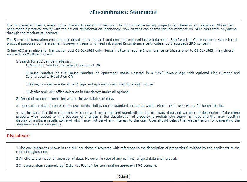 IGRS Encumbrance Certificate Download