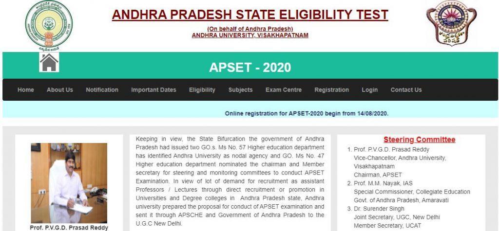 APSET 2021 [Lecturer, Professor] Online Application Form, Apply, Registration on apset portal