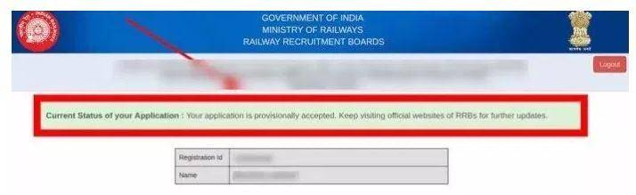 RRB NTPC Application Status 2021