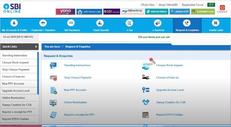 Apply Online Cheque Book SBI
