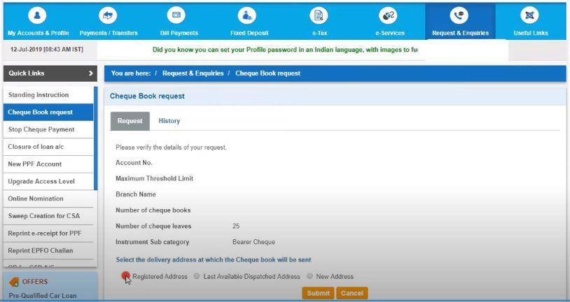 SBI Cheque Book Fill Application