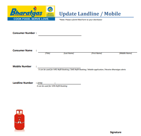 Bharat Gas Mobile Number Change Registration Form