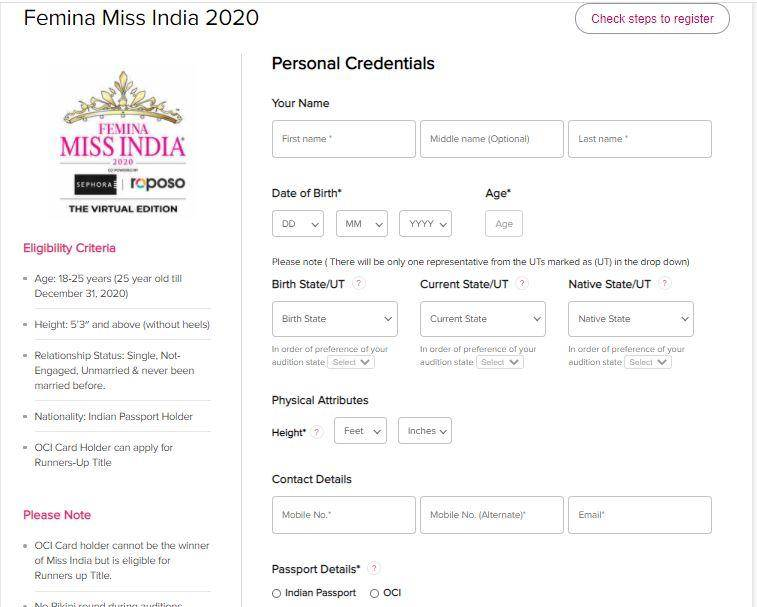 Miss India Competitions 2020