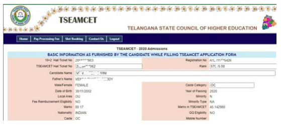 TS Web Counseling for eamcet