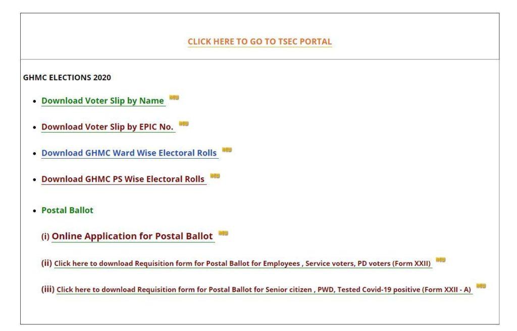 Telangana State GHMC Voter Slip