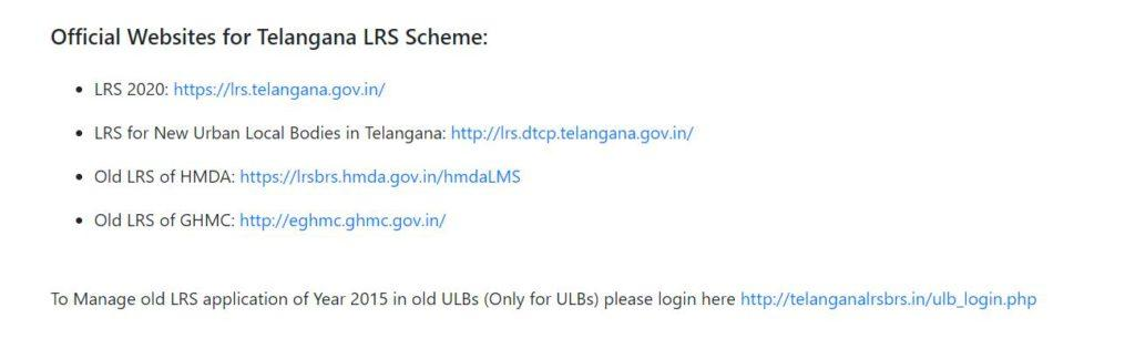 Application Status of Telangana LRS/BRS Scheme
