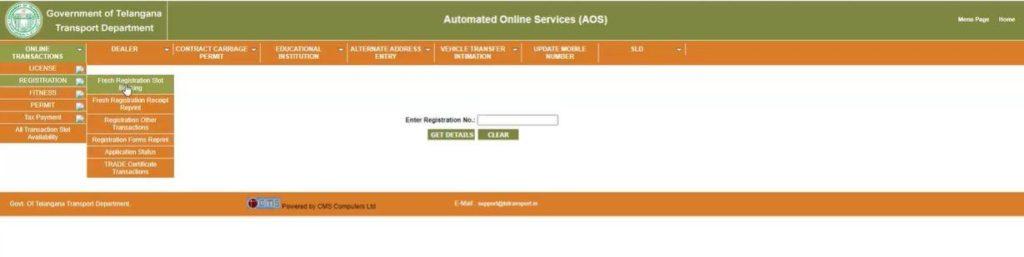 TS Transport Slot Booking Portal