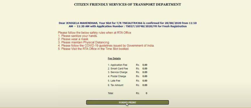 Telangana Transport Slot Booking Portal