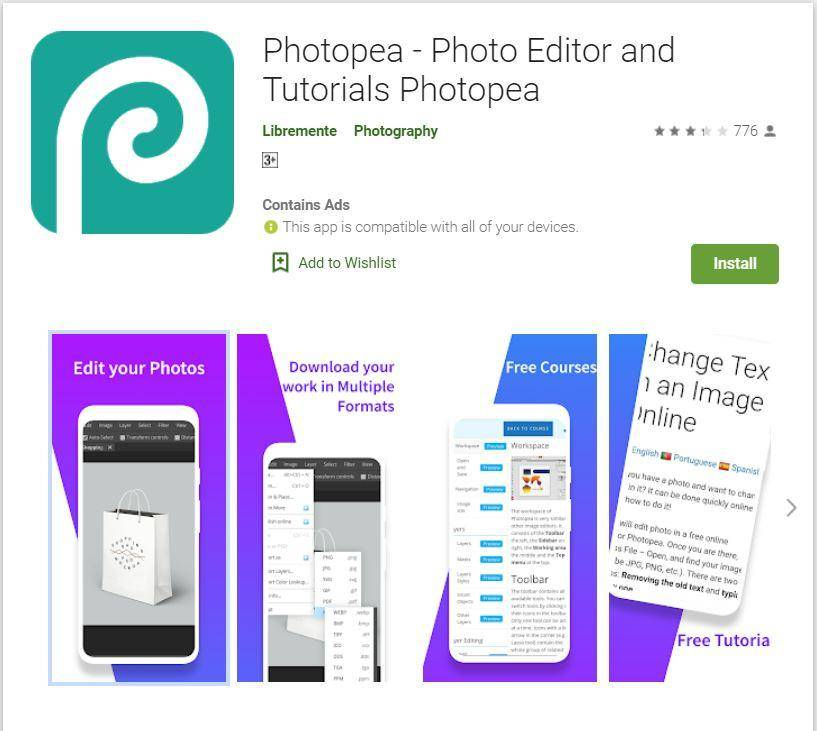 Download Photopea on Mobile @ Google Playstore