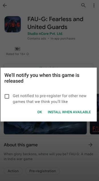 FAU G Game Registration link