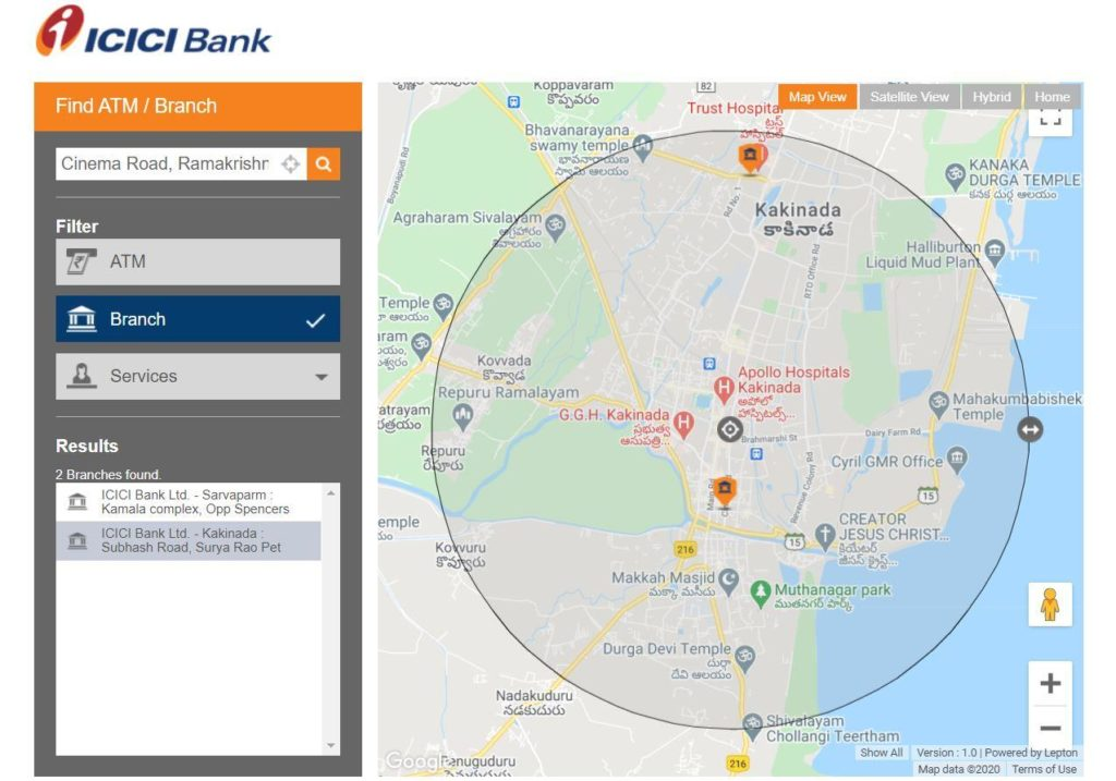 Search Nearby ICICI Branch