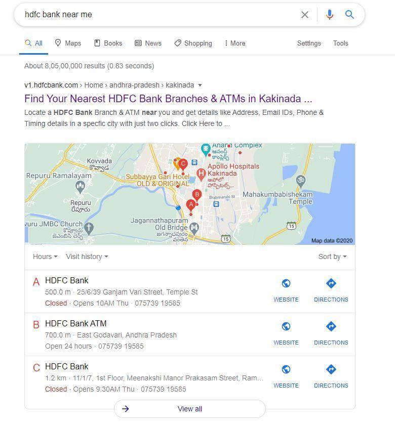Banks near me on google