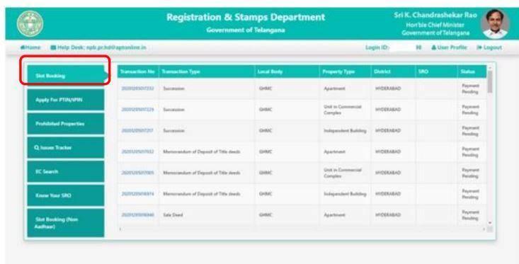 Telangana NAP Slot Bookings Online