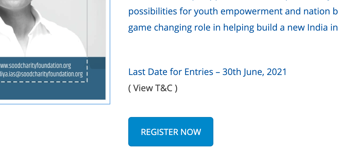 Sonu Sood IAS Scholarship, Free Coaching Apply Online, Registration Form 2021 @soodcharityfoundation