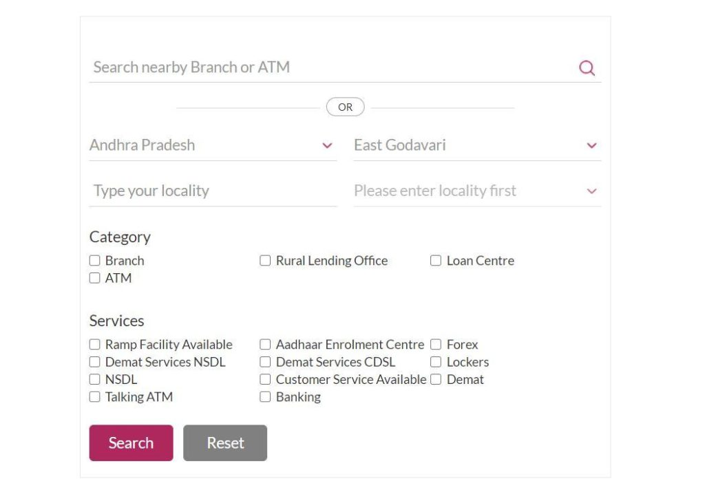 Search Nearby Axis Branch
