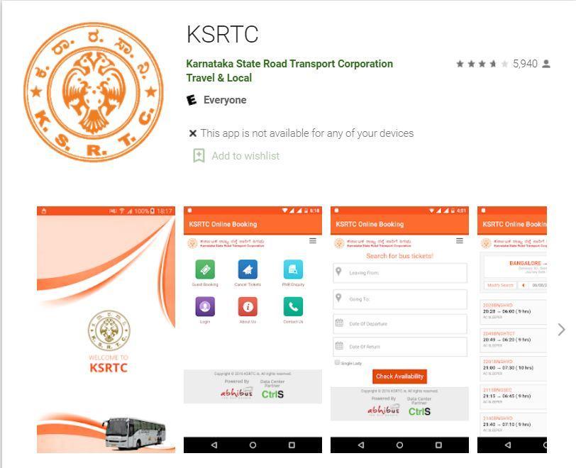 Download KSRTC Mobile App @ Google Play Store