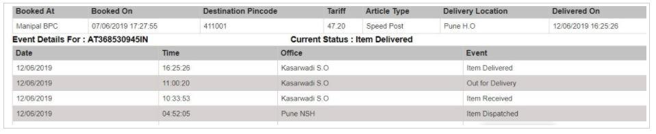 SBI ATM/Credit Card Delivery Status  Speed Post Tracking