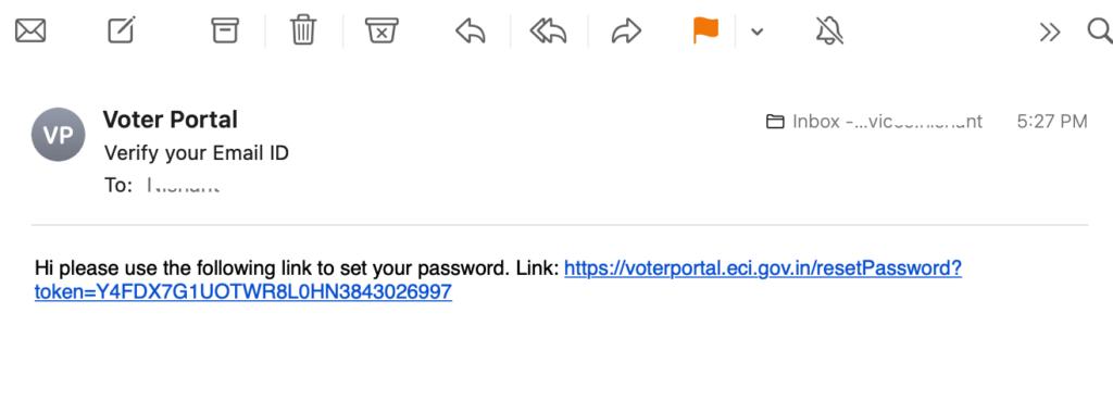 set password on eci voter portal