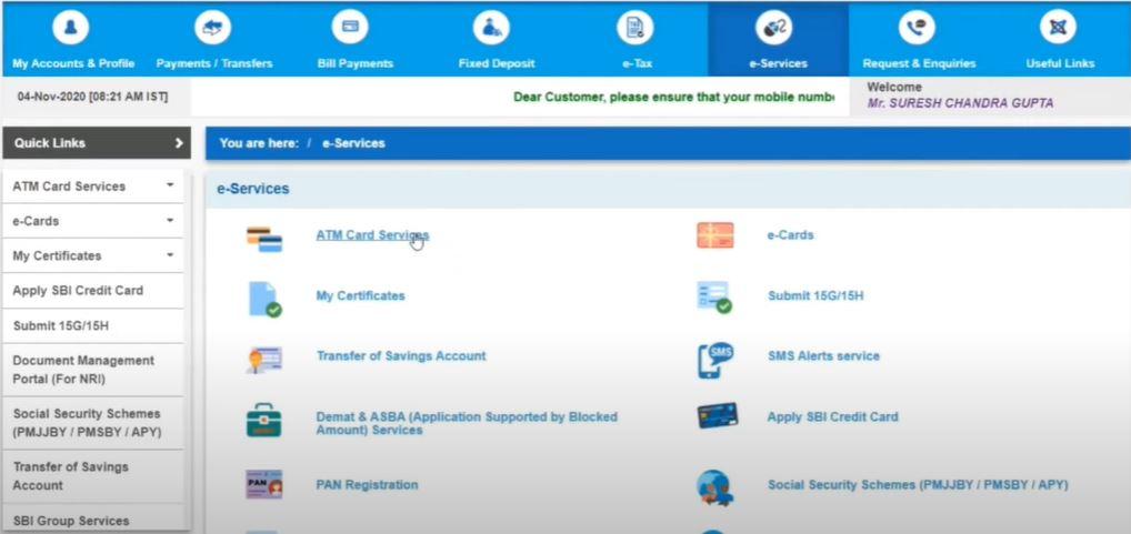 Apply for New SBI ATM Debit Card Online
