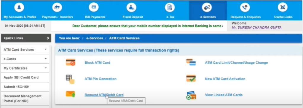 Apply SBI ATM Debit Card Online