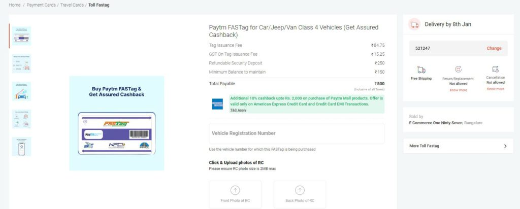 Apply for Fastag through Paytm