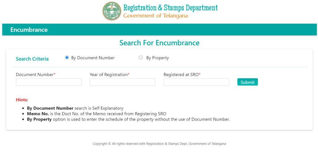 Search for Encumbrance Certificate Telangana