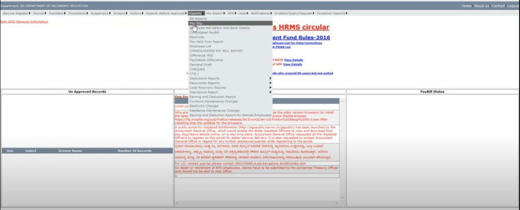 Download Karnataka HRMS Employee Pay Slip