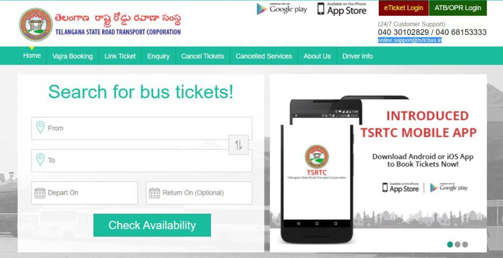 TSRTC Bus Booking Online   e-Ticket Download 2021, Vajra, Ordinary Bus, Cancel Tickets, Route Chart, Enquiry @ tsrtconline.in