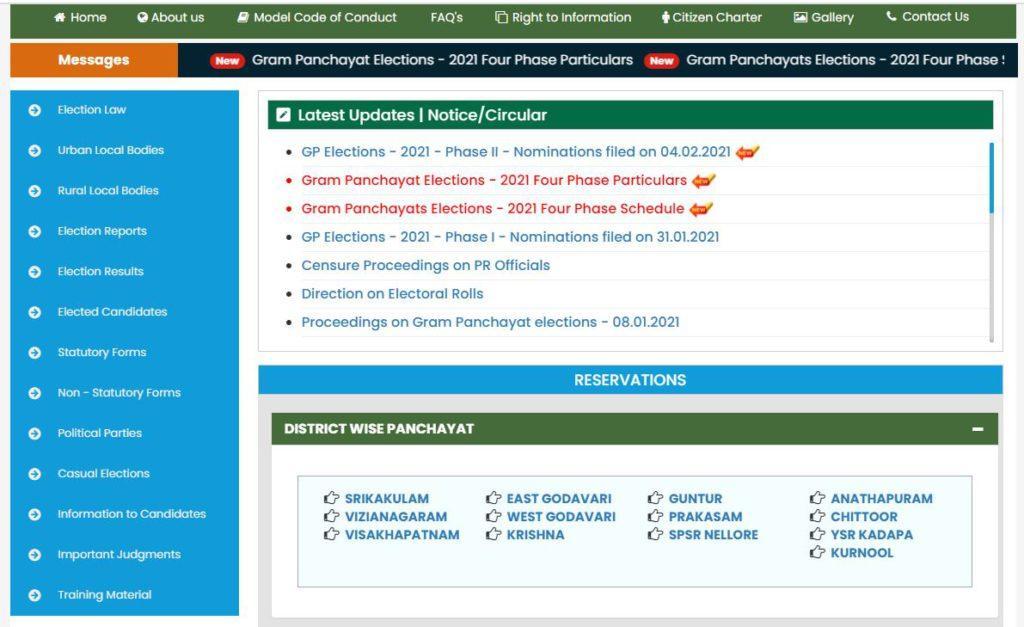 AP Panchayat Elections Reservation List 2021