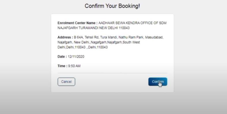 appointment booking confirmation receipt