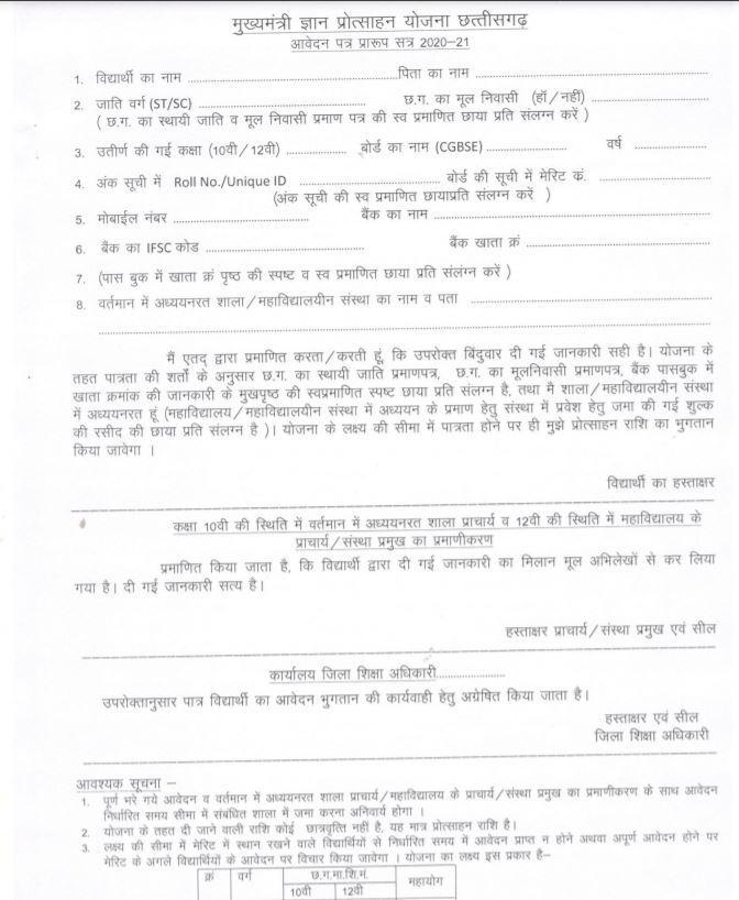 Chhattisgarh CG Mukhyamantri Gyan Protsahan Yojana 2021