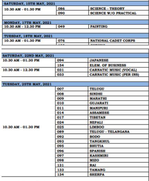 CBSE Class 10th Date Sheet