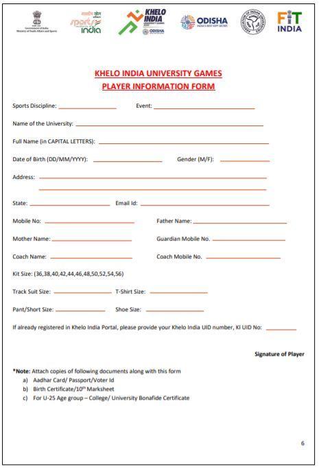 Second Edition Khelo India Online Registration Form 2021