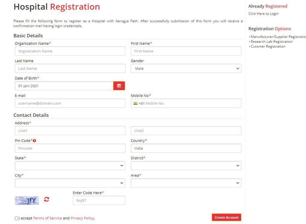 Register as a Hospital on Aarogya path