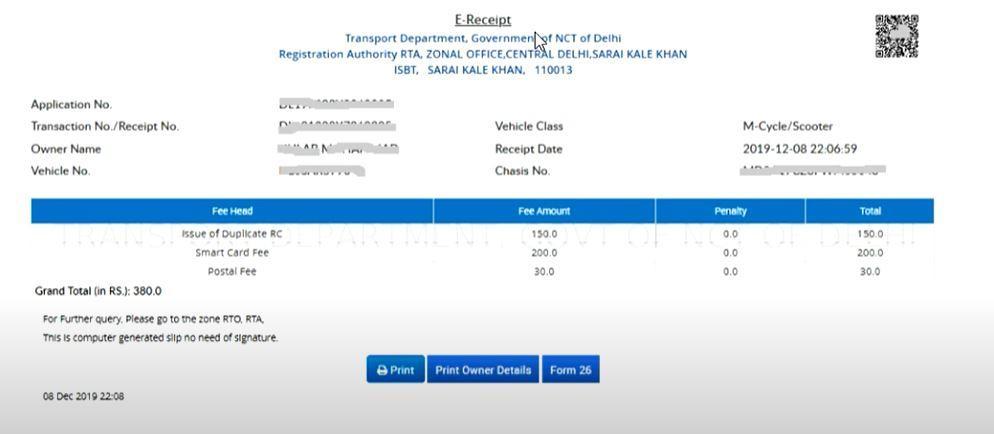 Apply RC Online in Delhi
