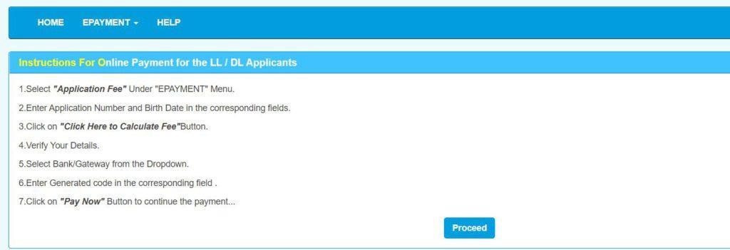 RTO Delhi LL/DL Fee Payment Process