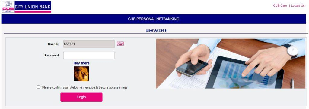 Login with User ID/PIN on CUB Internet Banking