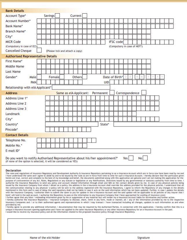 Procedure to Open E-Insurance Account Online