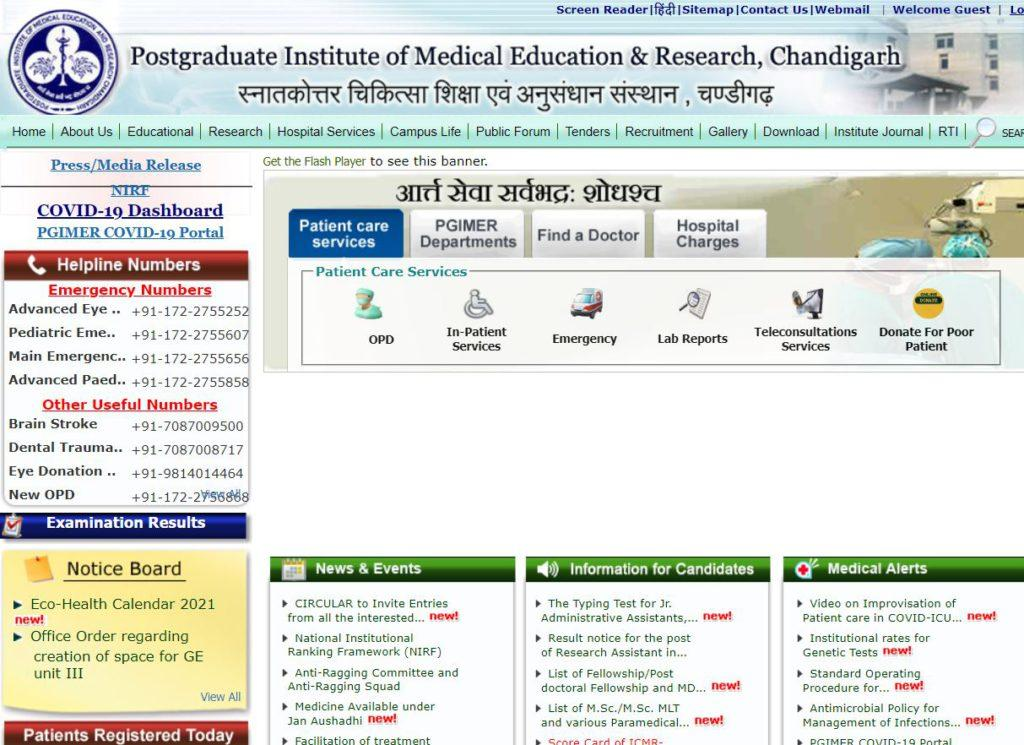 PGI Chandigarh Online OPD Appointment