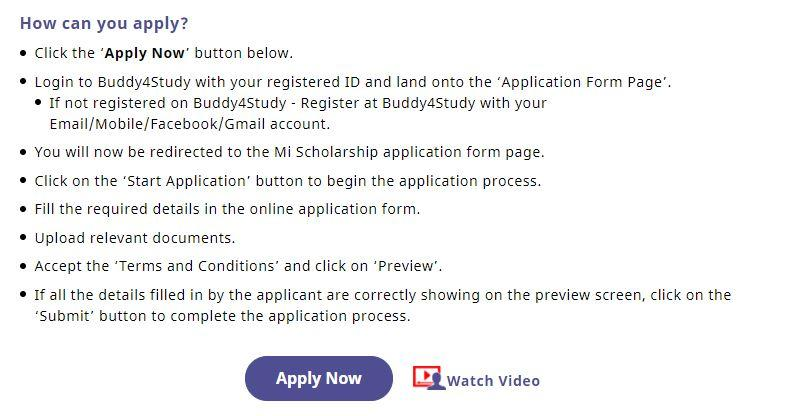 Mi Scholarship 2021-22 Apply  Online