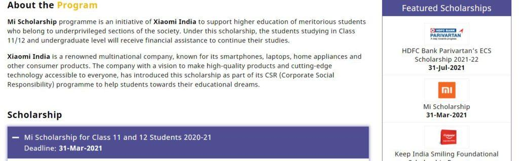 Mi Scholarship 2021-22 Apply
