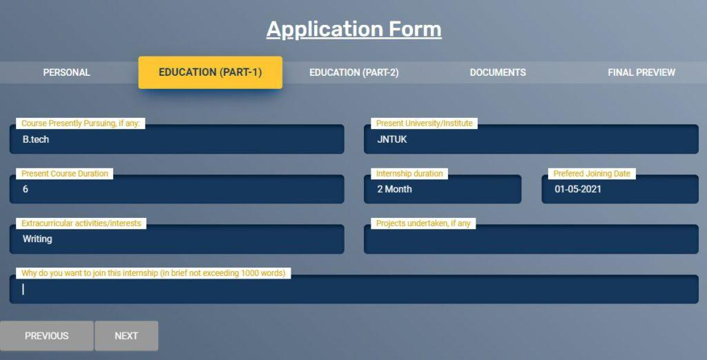 MEA Internship Online Application Form