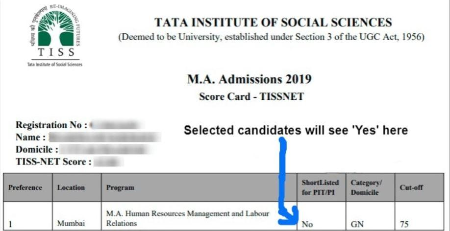 Download TISS NET Scorecard PDF 2021