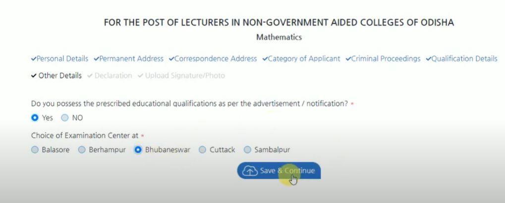 Online Registration for SSB Odisha Lecturer Vacancies