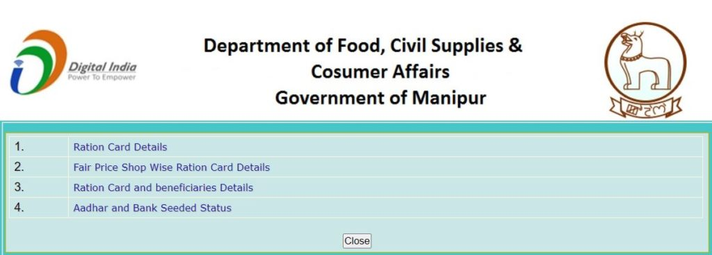 Procedure to View/Search Details Online Of Manipur Ration Card
